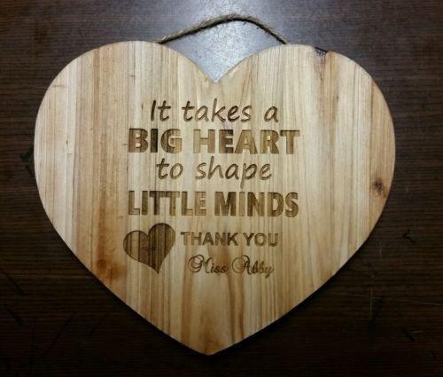 Babysitter Gift Ideas  Personalized heart sign for teacher babysitter daycare