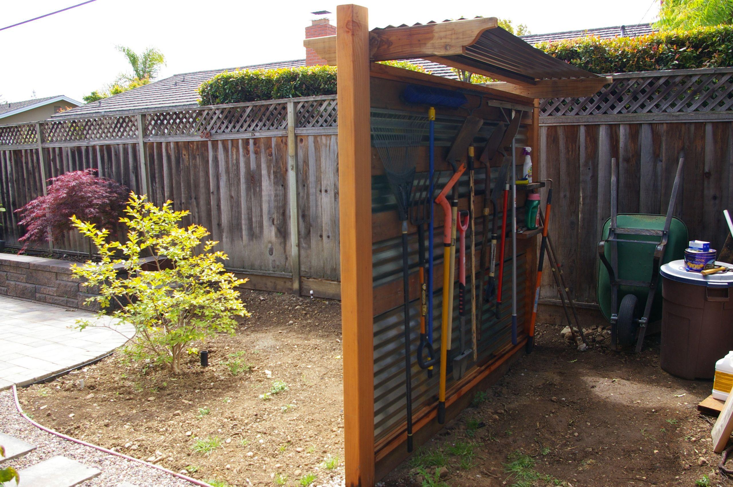 Backyard Design Tools  Backyard Landscaping Corrugated Metal and Redwood Tool