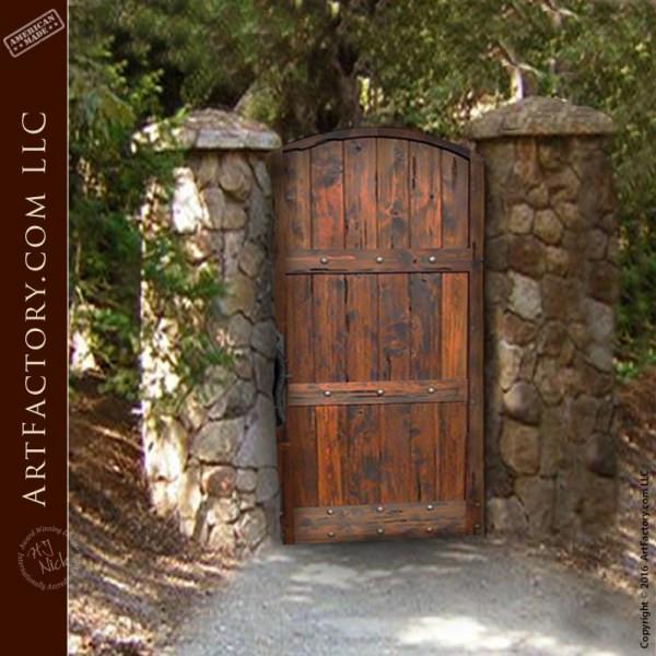Backyard Fence Door  Rustic Garden Gate Custom Handcrafted Arched Wooden Gates