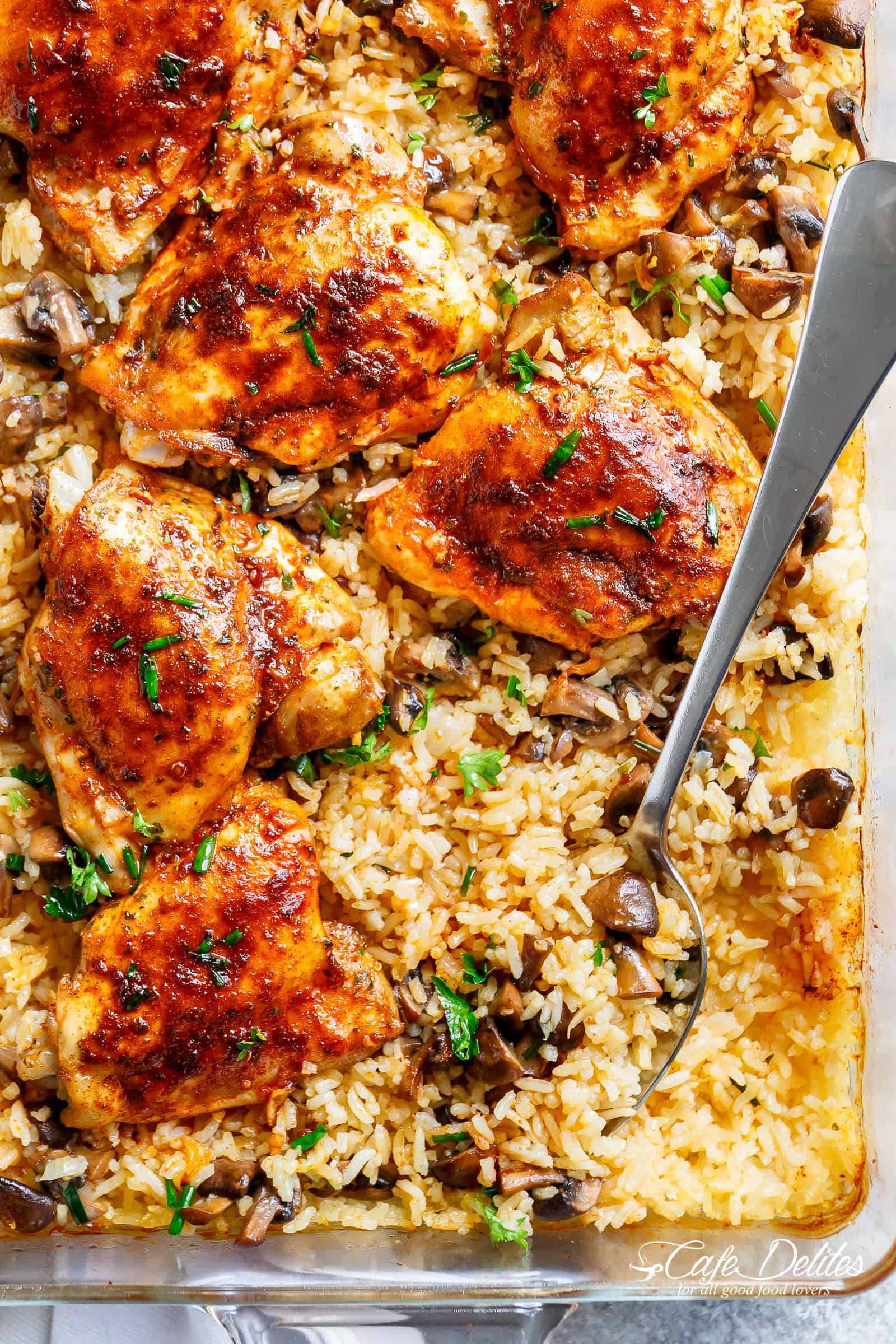Baked Chicken And Rice Recipe  Oven Baked Chicken And Rice Cafe Delites