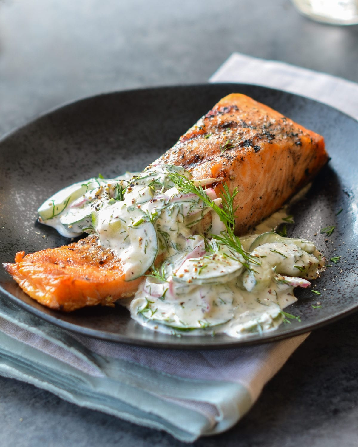 Baked Salmon Salad Recipe  Grilled Salmon with Creamy Cucumber Dill Salad ce Upon