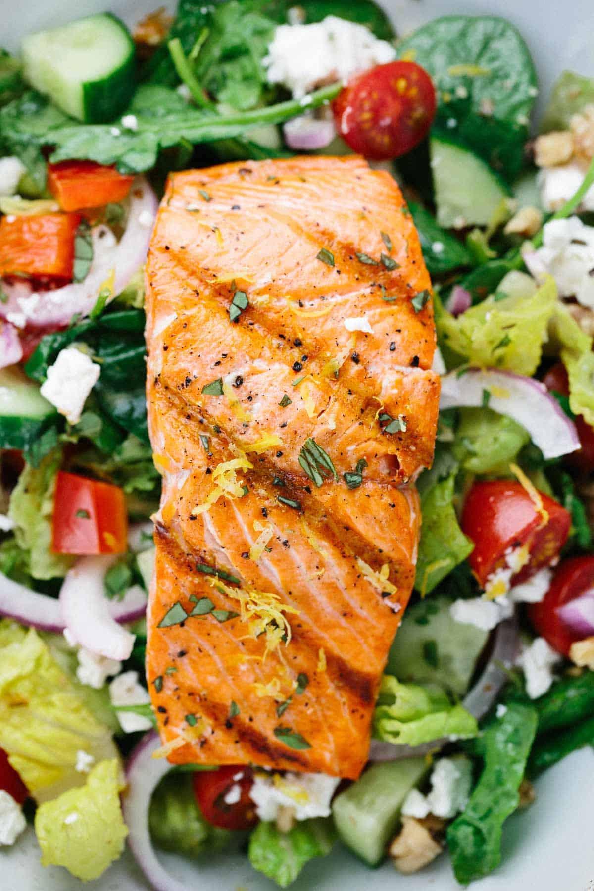 Baked Salmon Salad Recipe  Salmon Greek Salad with Lemon Basil Dressing Jessica Gavin