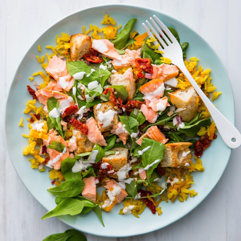 Baked Salmon Salad Recipe  Flaked Salmon Salad with Baked Rice Nadia Lim