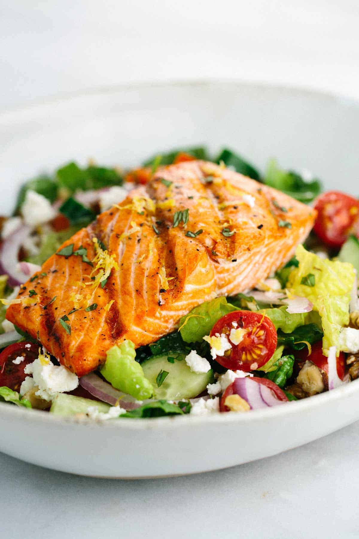 Baked Salmon Salad Recipe  Grilled Salmon Greek Salad with Lemon Basil Dressing
