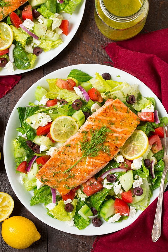 Baked Salmon Salad Recipe  Greek Salmon Salad Cooking Classy