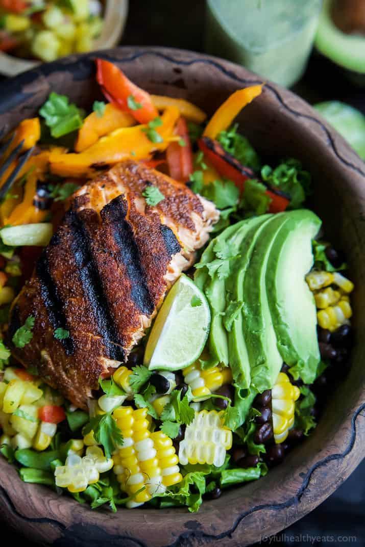 Baked Salmon Salad Recipe  Blackened Grilled Salmon Salad with Pineapple Salsa