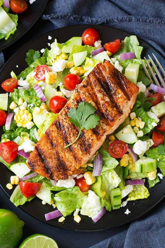 Baked Salmon Salad Recipe  Mexican Grilled Salmon Salad with Avocado Ranch