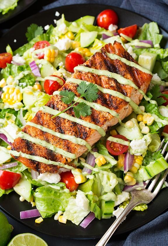 Baked Salmon Salad Recipe  Mexican Grilled Salmon Salad with Avocado Greek Yogurt