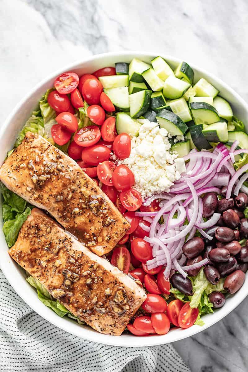 Baked Salmon Salad Recipe  Easy Balsamic Salmon Salad