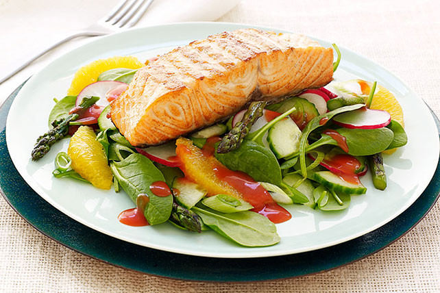 Baked Salmon Salad Recipe  CATALINA Grilled Salmon Salad Recipe Kraft Recipes