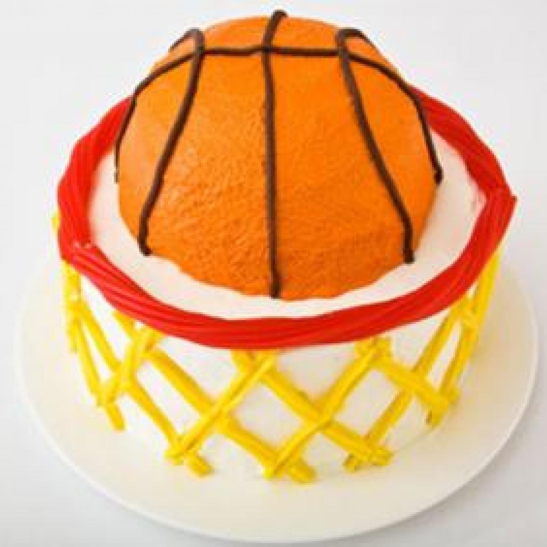Basketball Birthday Cakes  Basketball with Hoop Birthday Cake Design