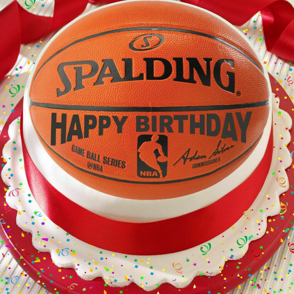 Basketball Birthday Cakes  BASKETBALL HAPPY BIRTHDAY 7 5 INCH PRECUT EDIBLE CAKE