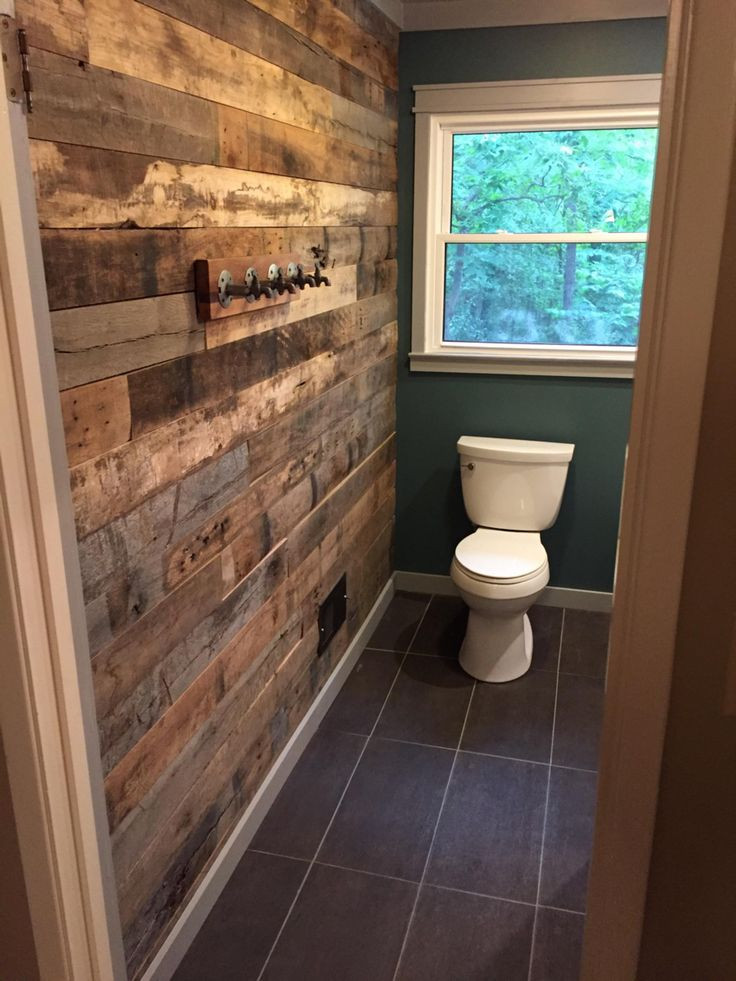 Bathroom Divider Walls  Bathroom accent wall from reclaimed barn wood With