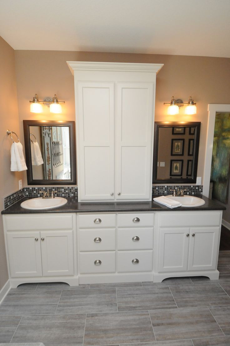 Bathroom Vanity With Linen Cabinet  171 best Home Hall Bath Cabinetry images on Pinterest