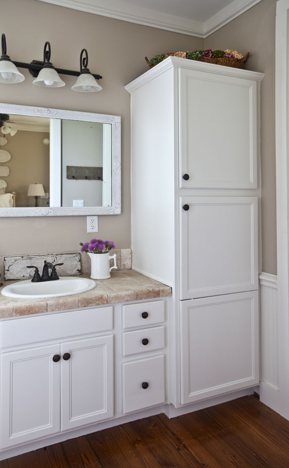 Bathroom Vanity With Linen Cabinet  How to Refresh the Bath Quickly Cedar Hill Farmhouse