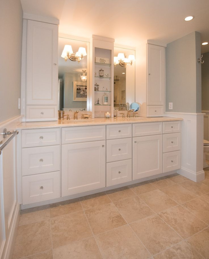 Bathroom Vanity With Linen Cabinet  This double vanity has truly maximized storage with tall