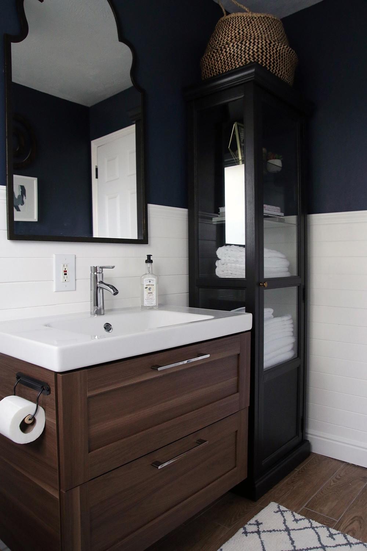 Bathroom Vanity With Linen Cabinet  A Half bath refresh Chris Loves Julia