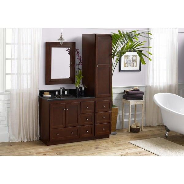 Bathroom Vanity With Linen Cabinet  Shop Ronbow Shaker 36 inch Bathroom Vanity Set in Dark