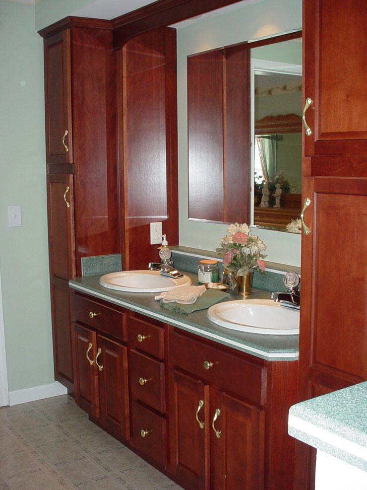 Bathroom Vanity With Linen Cabinet  Modular Home Master Bathroom with Cherry Vanities and