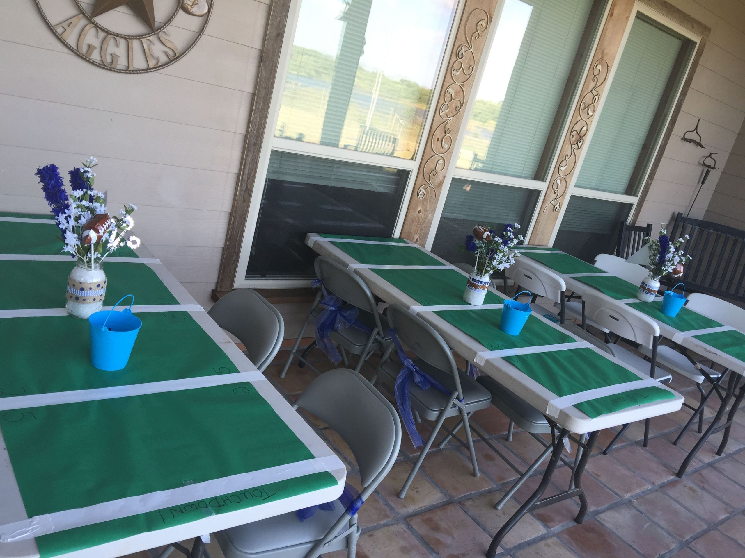 Birthday Party Ideas Dallas  Football tables for Dallas Cowboys baby shower with