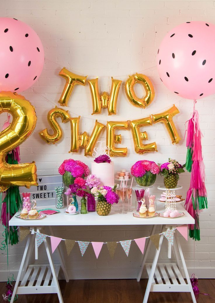 Birthday Party Ideas For 2 Year Girl  Two Sweet Balloon Banner Two tti Fruity Theme Decor