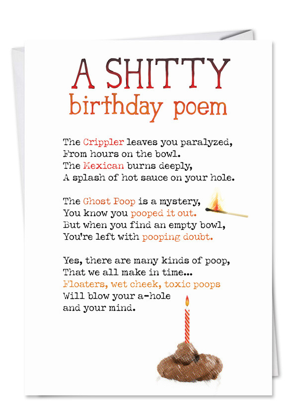 Birthday Poem Funny  Shitty Poem Funny Dirty Birthday Card – NobleWorks Cards