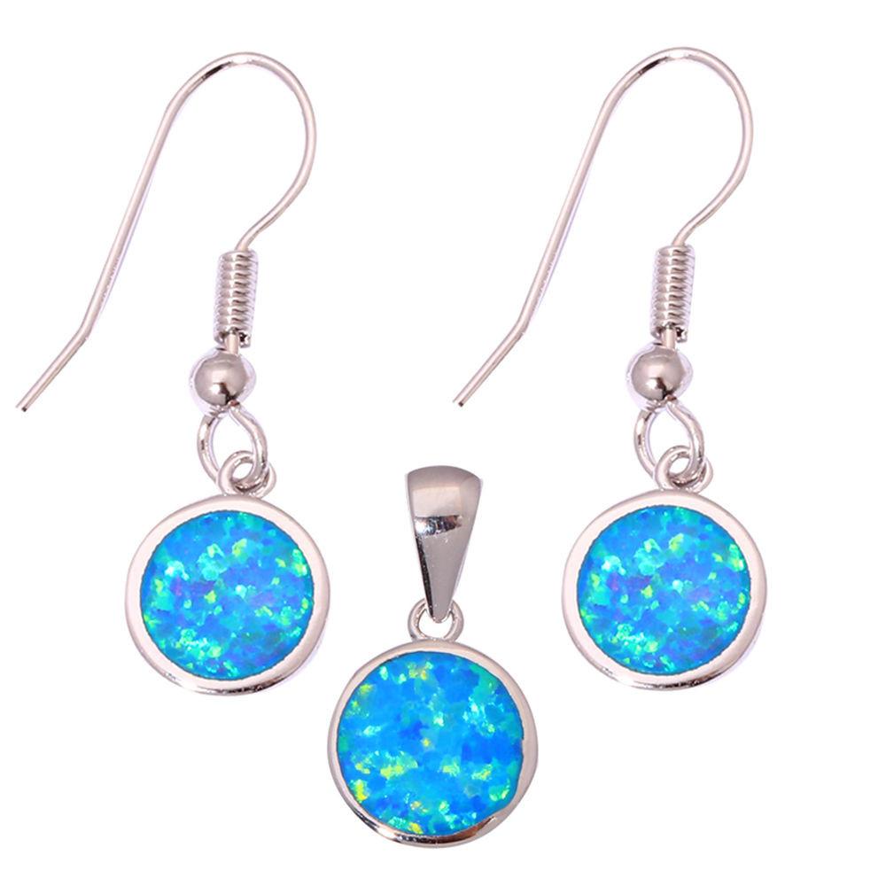Blue Opal Earrings  Blue Fire Opal Silver for Women Jewelry Pendant Dangle