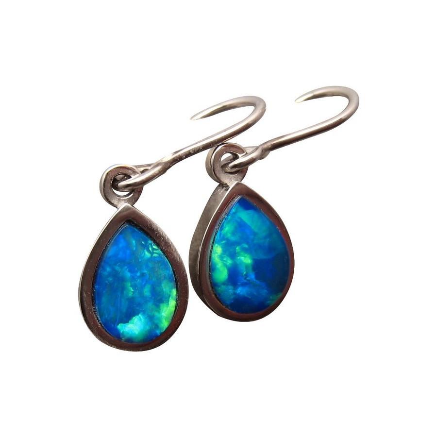 Blue Opal Earrings  Blue Opal Short Drop Earrings 14k Gold Opal Earrings