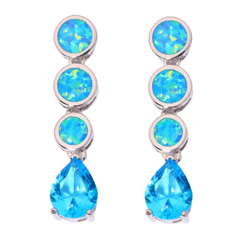 Blue Opal Earrings  New Blue Fire Opal & Aquamarine Women Jewelry Gems