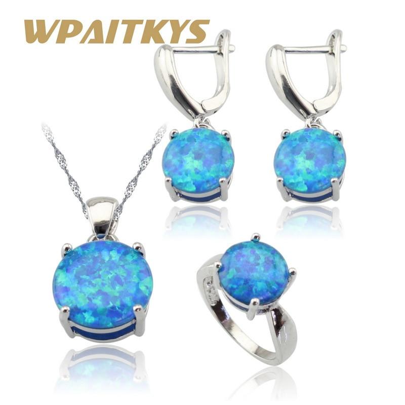 Blue Opal Earrings  Aliexpress Buy Round Australia Fire Blue Opal 925