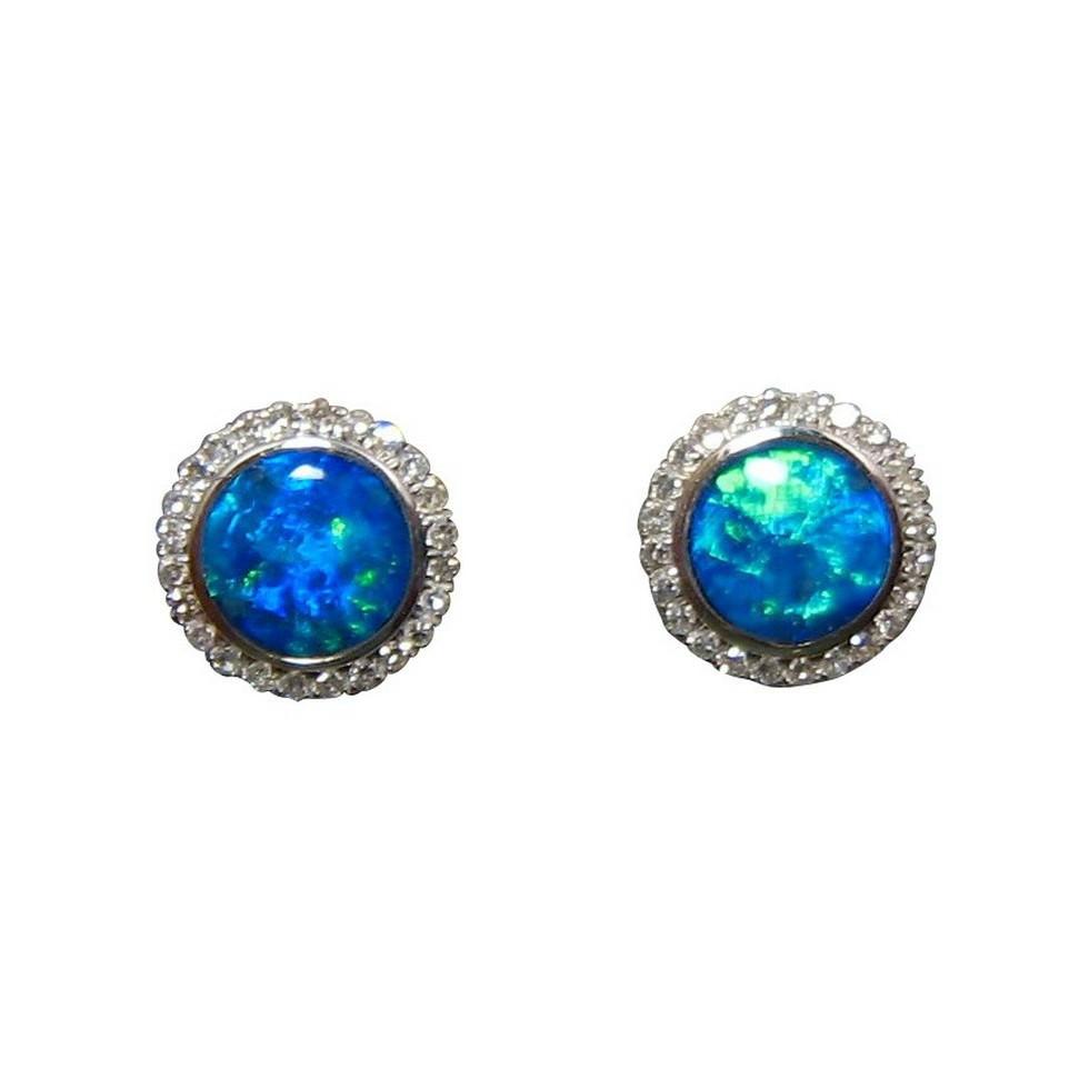 Blue Opal Earrings  Blue Opal Diamond Stud Earrings 14k Opal Earrings