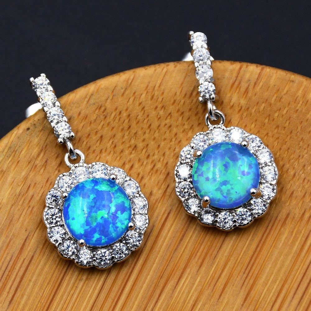 Blue Opal Earrings  Hot sale Lady s beautiful blue fire opal earrings