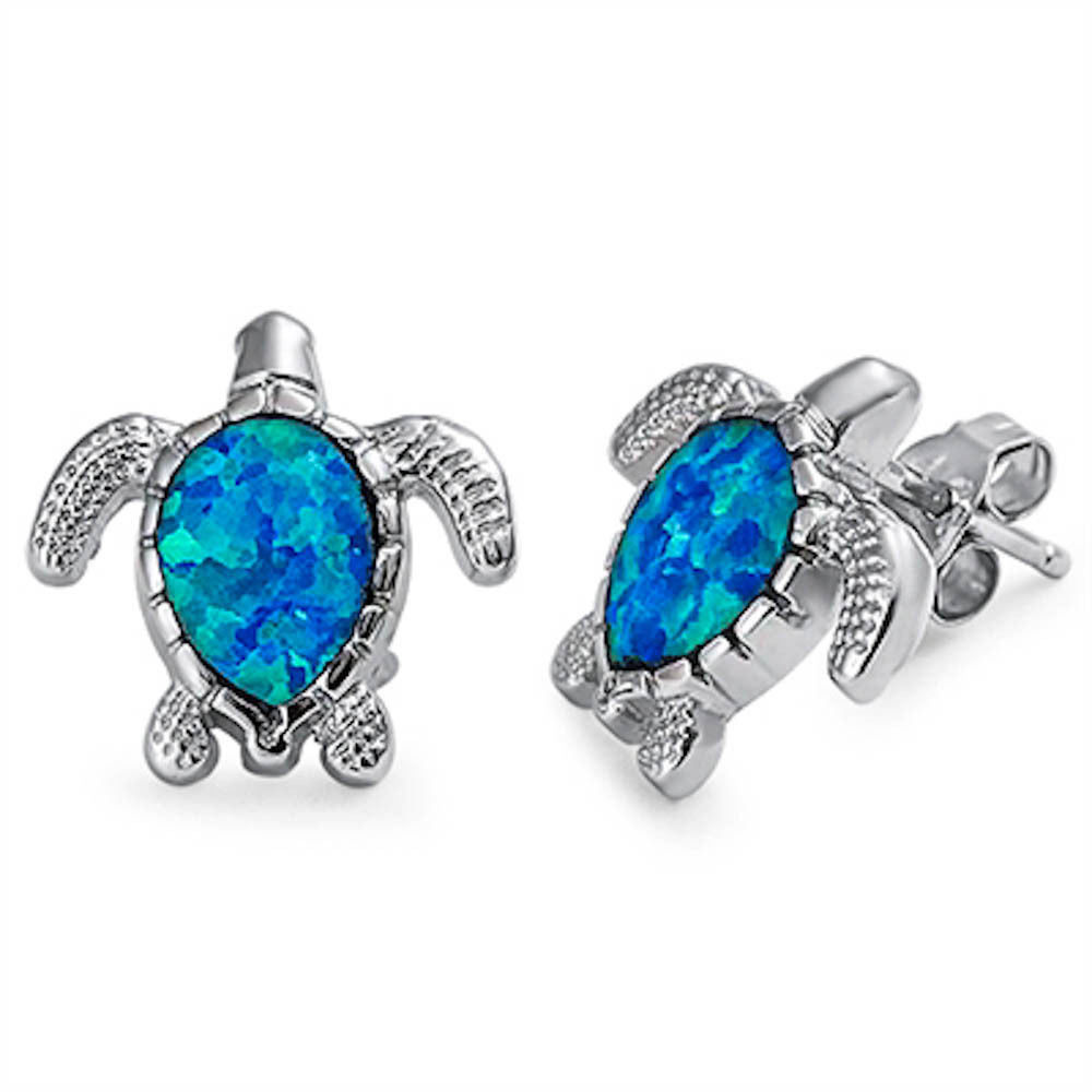 Blue Opal Earrings  Blue Opal Turtle 925 Sterling Silver Earrings
