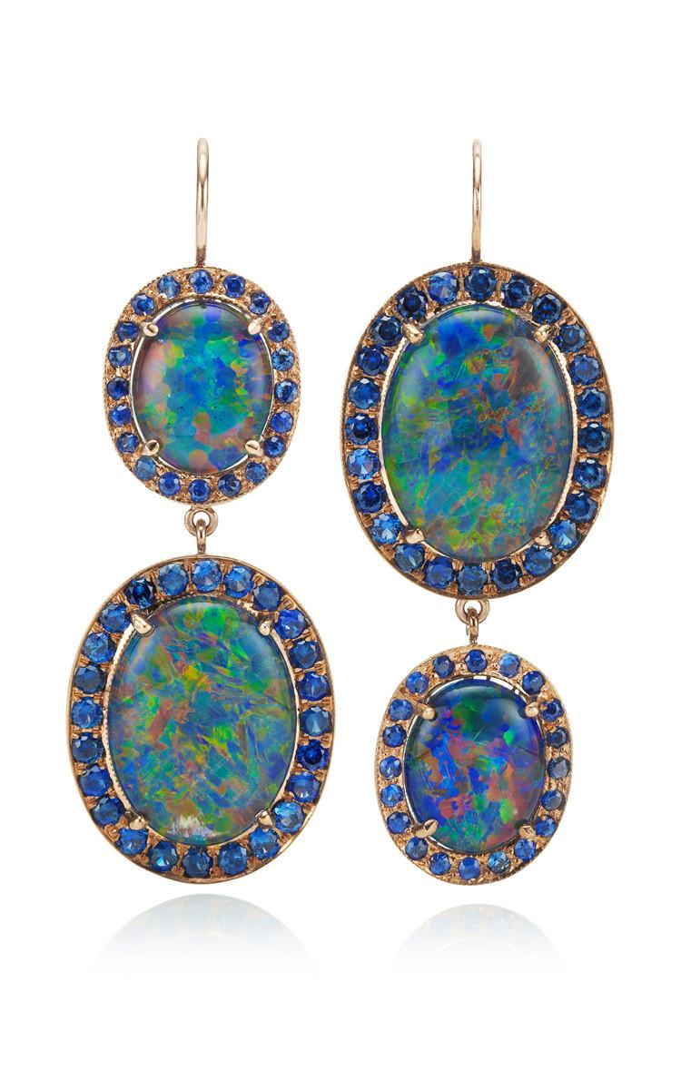 Blue Opal Earrings  Lyst Andrea Fohrman Unique Oval Australian Opal and Blue
