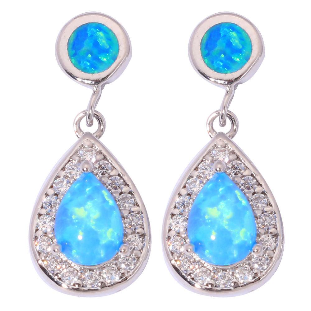 Blue Opal Earrings  Pink White Blue Fire Opal & CZ Women Jewelry Gems Silver