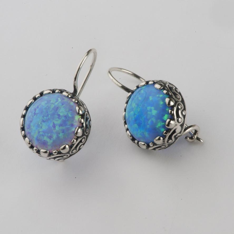 Blue Opal Earrings  Precious Womens Shablool Earrings Sterling Silver