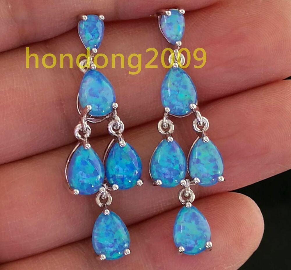 Blue Opal Earrings  Amazing Natural Blue Fire Opal dangle 925 silver earrings