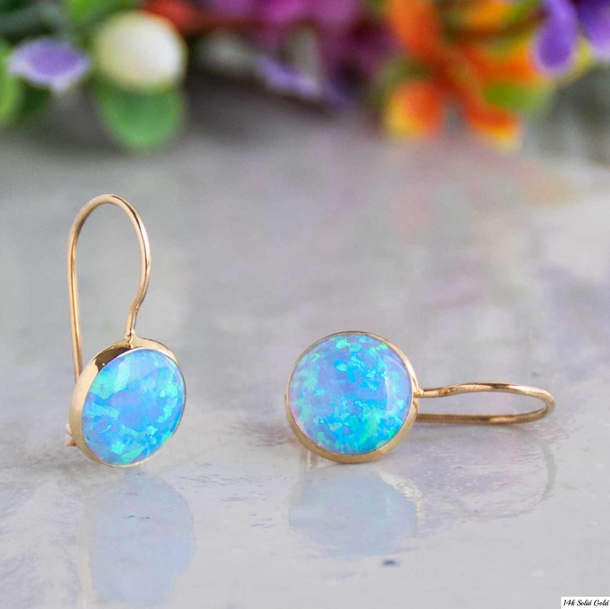 Blue Opal Earrings  Blue Opal Earrings Gemstone Earrings Opal Jewelry 14K Gold