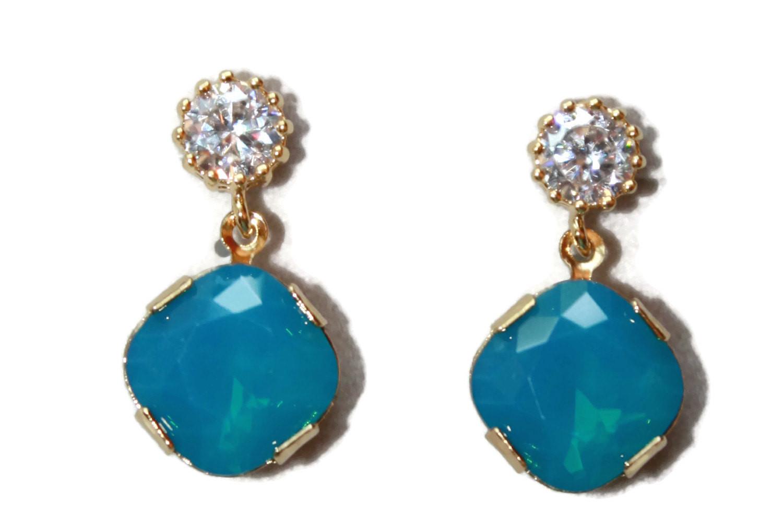 Blue Opal Earrings  Swarovski Caribbean Blue Opal Drop Earrings Blue Jewelry