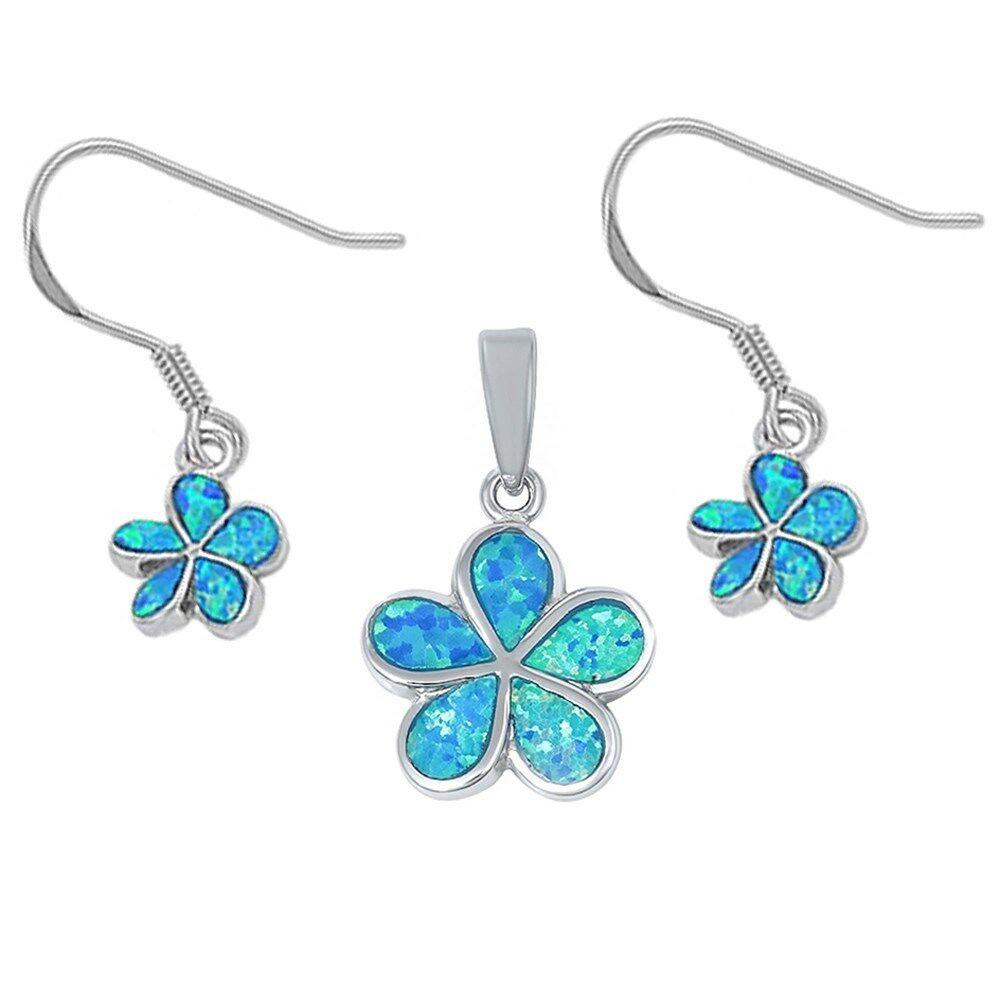 Blue Opal Earrings  Blue Opal Flower Earrings & Pendant Set 925 Sterling