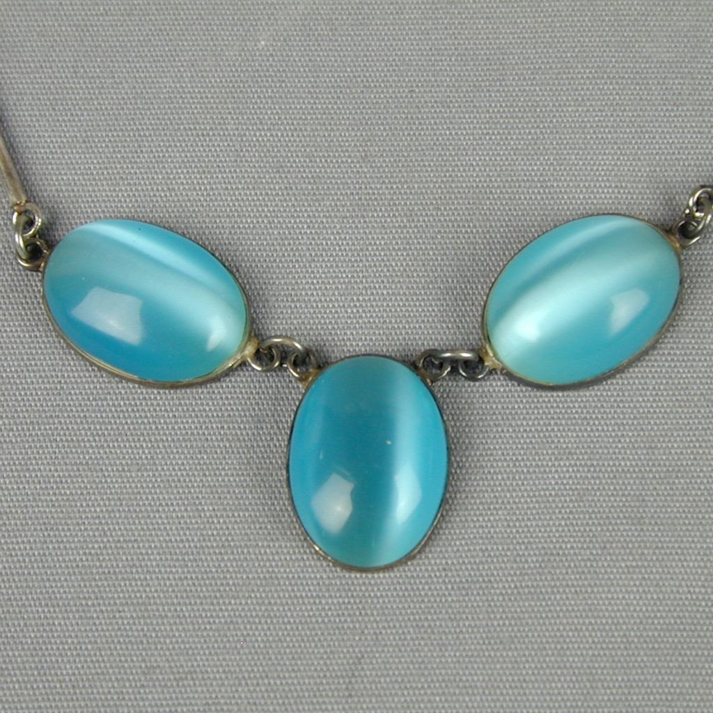 Blue Opal Earrings  Vintage Mexican Blue Opal Sterling Silver Necklace