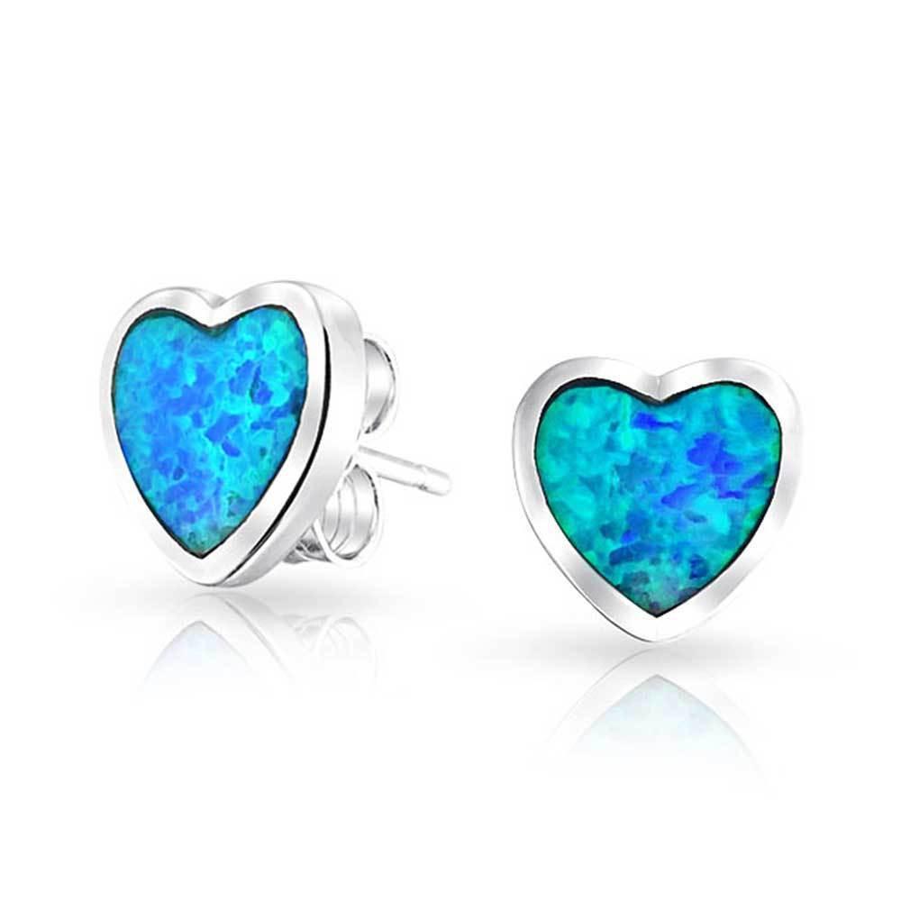 Blue Opal Earrings  925 Sterling Silver Synthetic Blue Opal Inlay Heart Stud