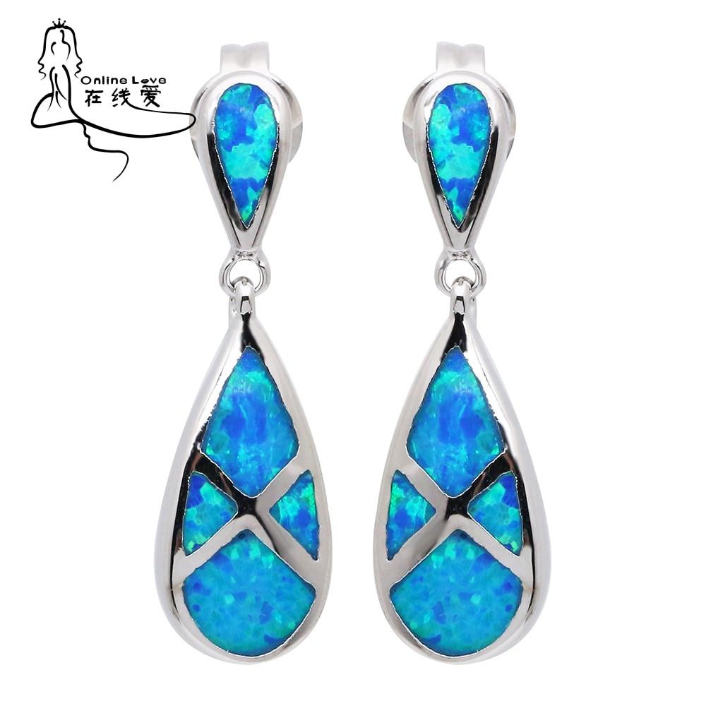 Blue Opal Earrings  Hot Sale Silver Plated Blue Opal Earrings New Fashion