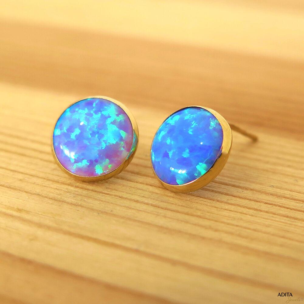 Blue Opal Earrings  Solid Gold 14K 8mm Blue Opal Earrings Handmade Jewelry By