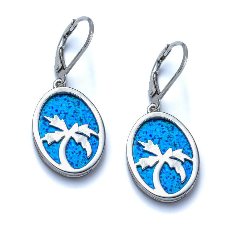 Blue Opal Earrings  Blue Opal Palm Tree Earrings Landing pany