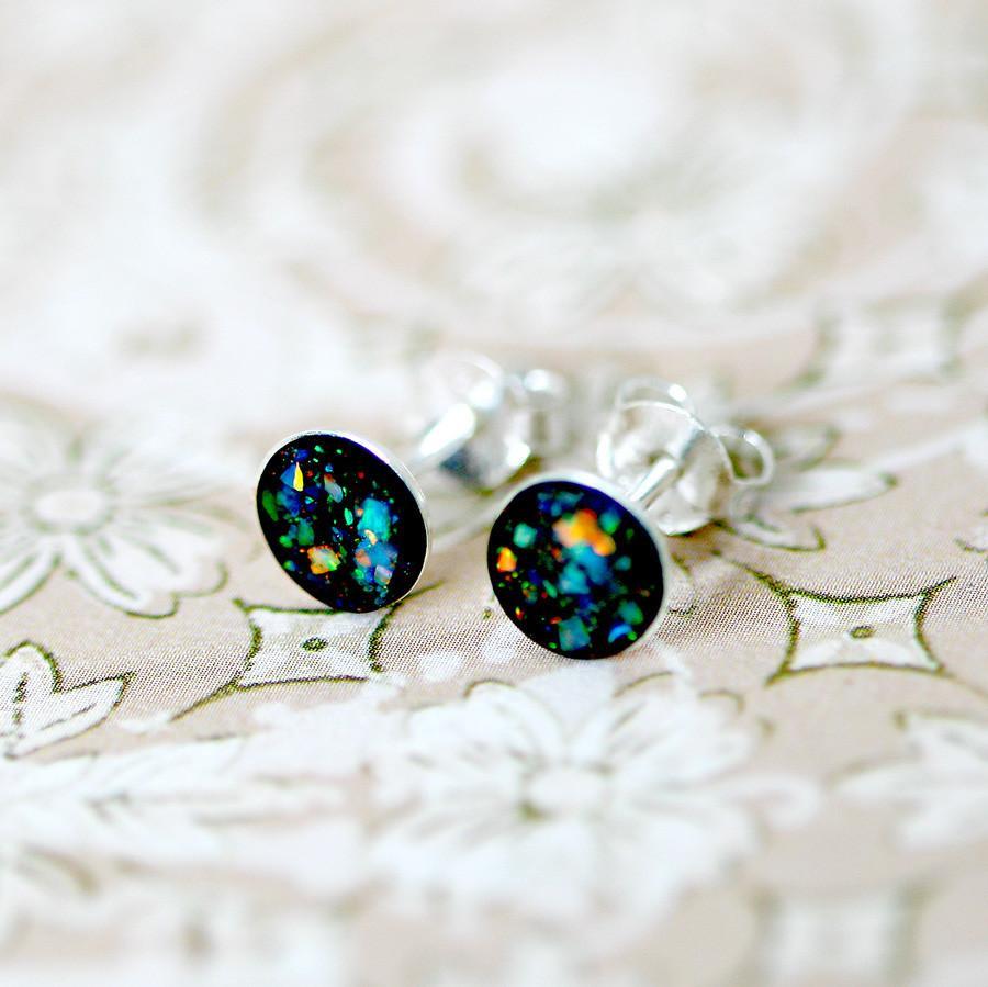 Blue Opal Earrings  Tiny Blue Opal Earrings Stud Earrings 925 Silver – HWSTAR