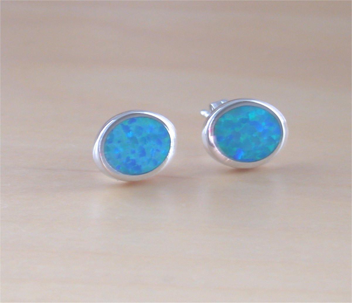 Blue Opal Earrings  925 Blue Opal Oval Stud Earrings Opal Oval Earrings Opal
