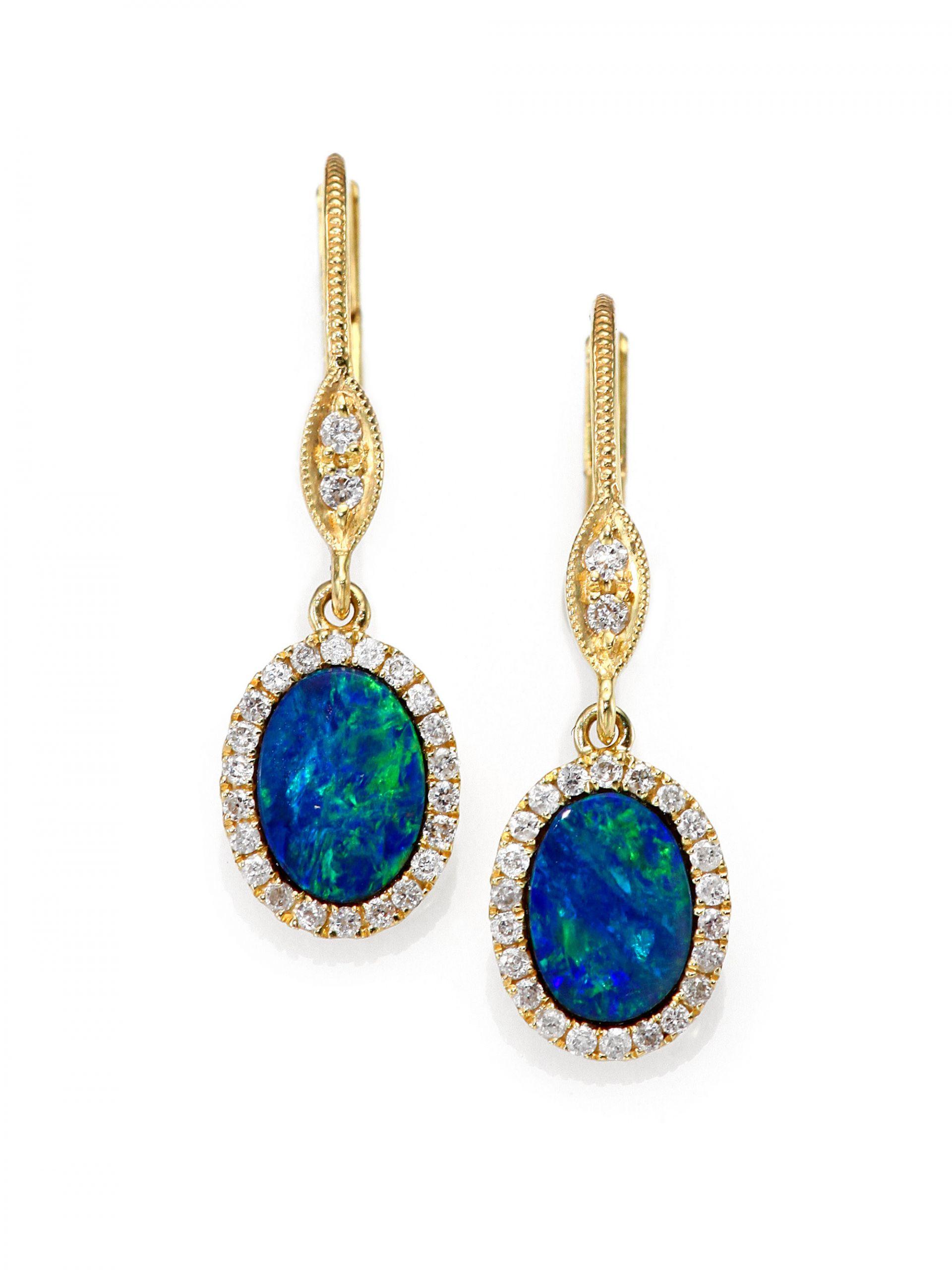 Blue Opal Earrings  Meira t Blue Opal Diamond & 14k Yellow Gold Drop Earrings