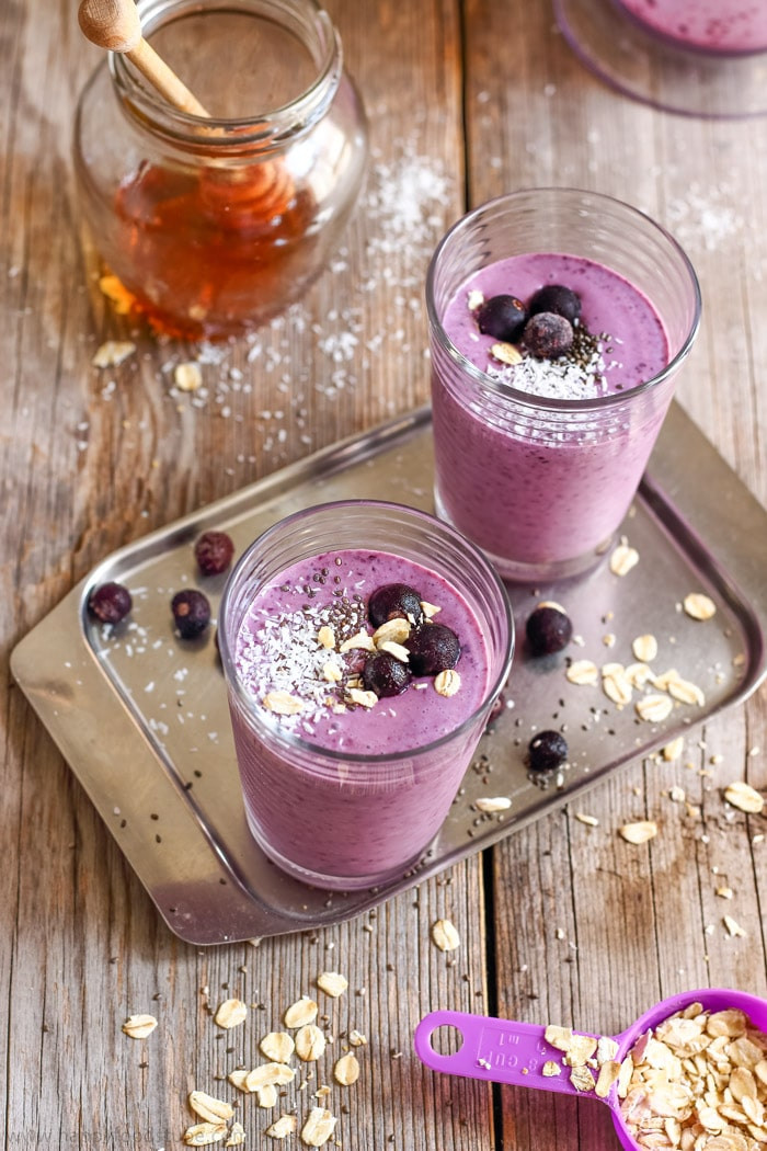 Blueberry Smoothies With Milk  Blueberry Coconut Milk Smoothie with Oats Happy Foods Tube