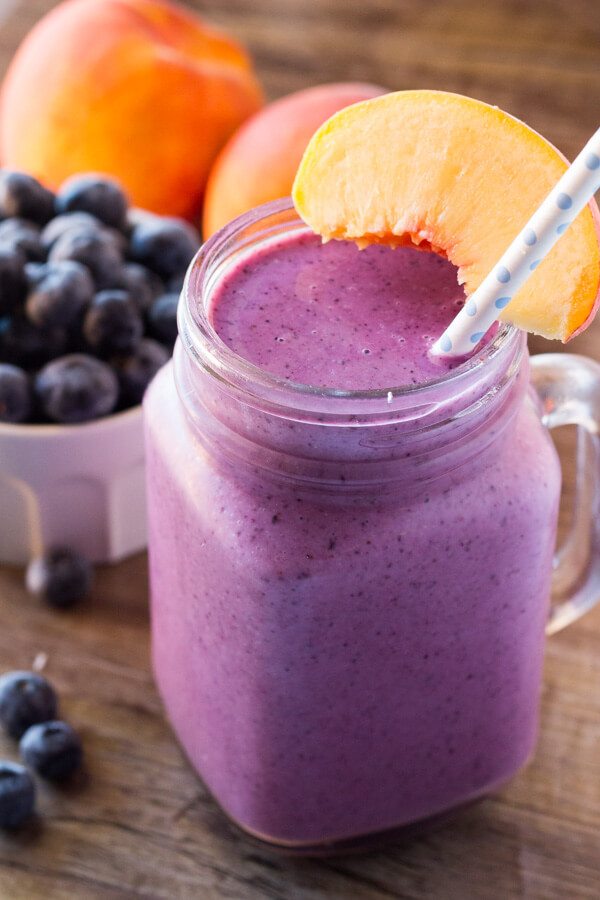 Blueberry Smoothies With Milk  Blueberry Peach Smoothie Just so Tasty
